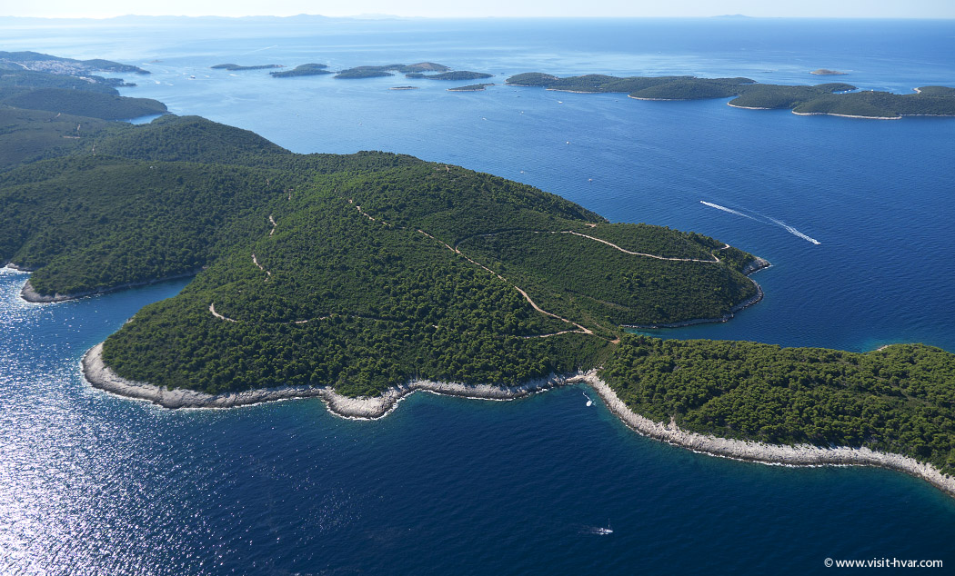 Island Hvar and Pakleni islands from the air